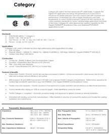 1000ft Cat 6 550MHz Solid Cable Plenum, UL/ETL/CSA