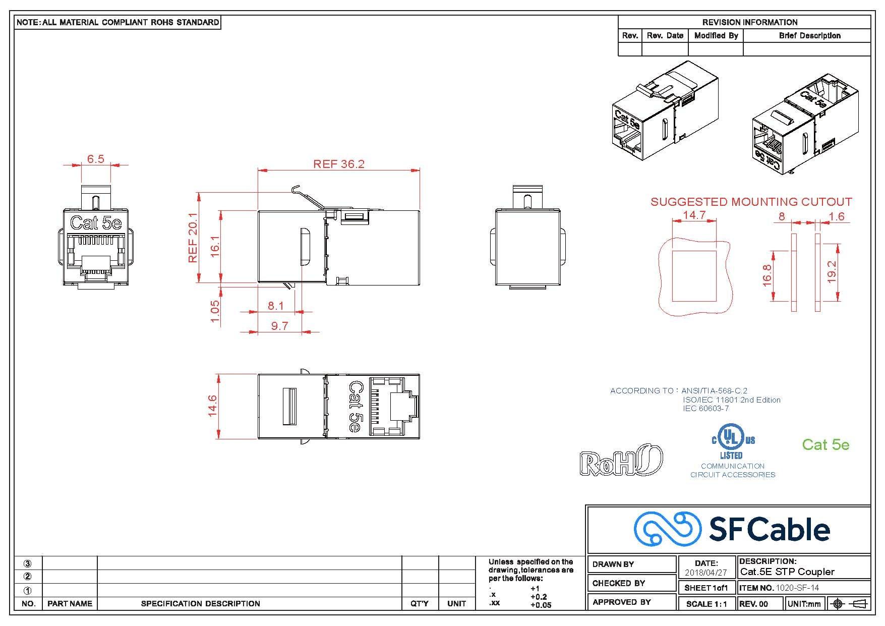 Cat5E Shielded Right Angle Inline Coupler w/Keystone Latch