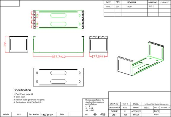 4U Mounting Hinge for 96 Port Patch Panel 7