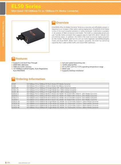 EtherWAN Mini 10/100TX/100FX SM(SC) 75Km Media Converter