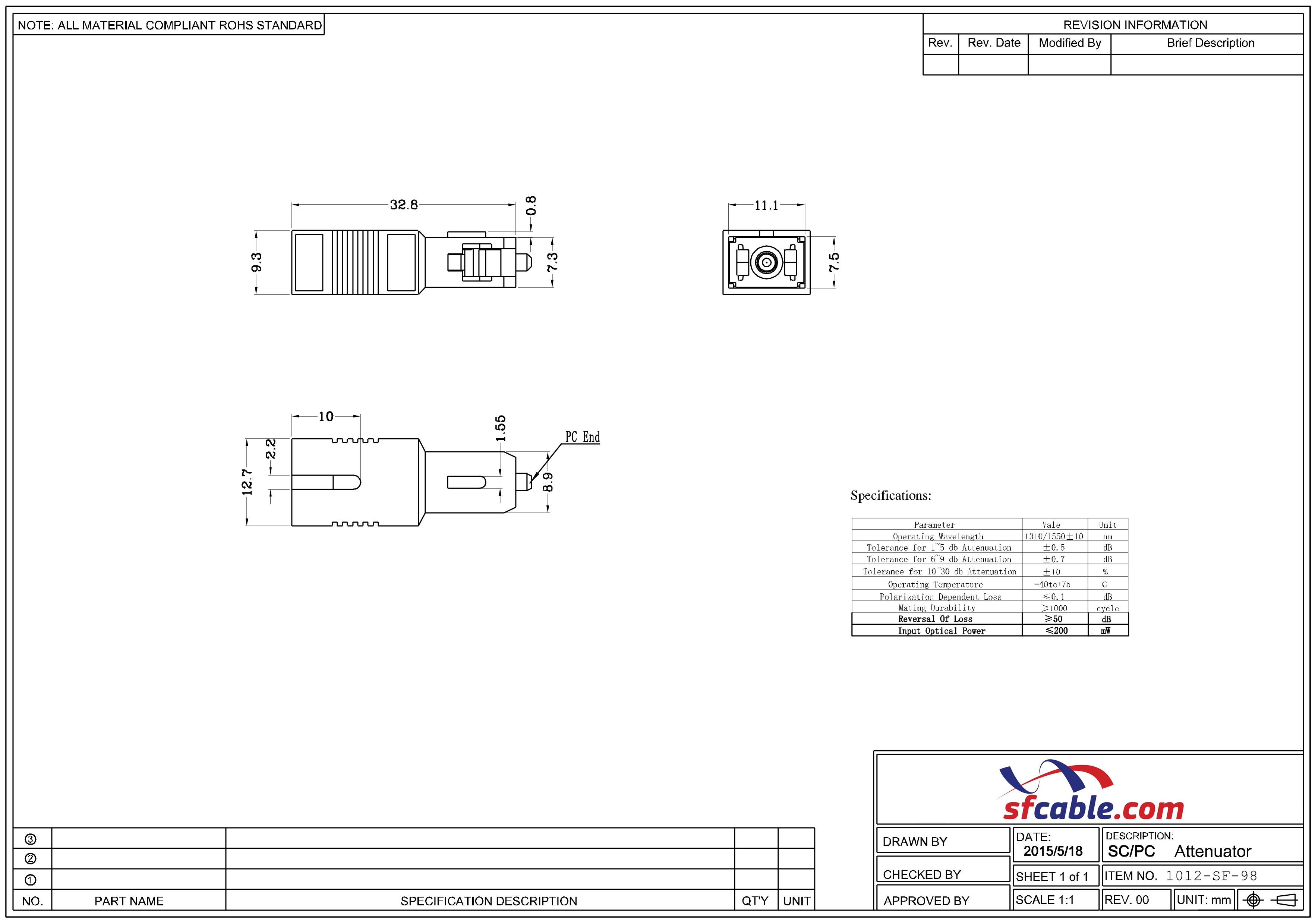 LC Fiber Optic Atenuator 15dB