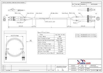 LC-ST Duplex Multimode 50/125 Fiber Optic Cable