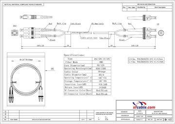 ST-SC Duplex Multimode 50/125 Fiber Optic Cable