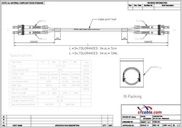 ST-ST Duplex Multimode 50/125 Fiber Optic Cable