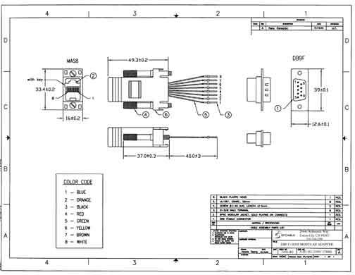 DB9 Female to RJ45 Modular Adapter Color Black