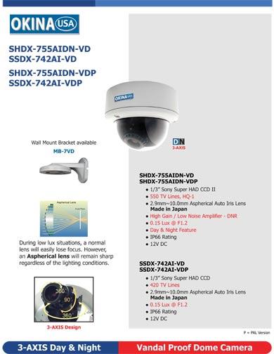 3-AXIS Vandal Proof Dome Camera SSDX-742AI-VD