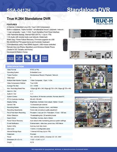 4 Channel True H.264 DVR SSA-0412H