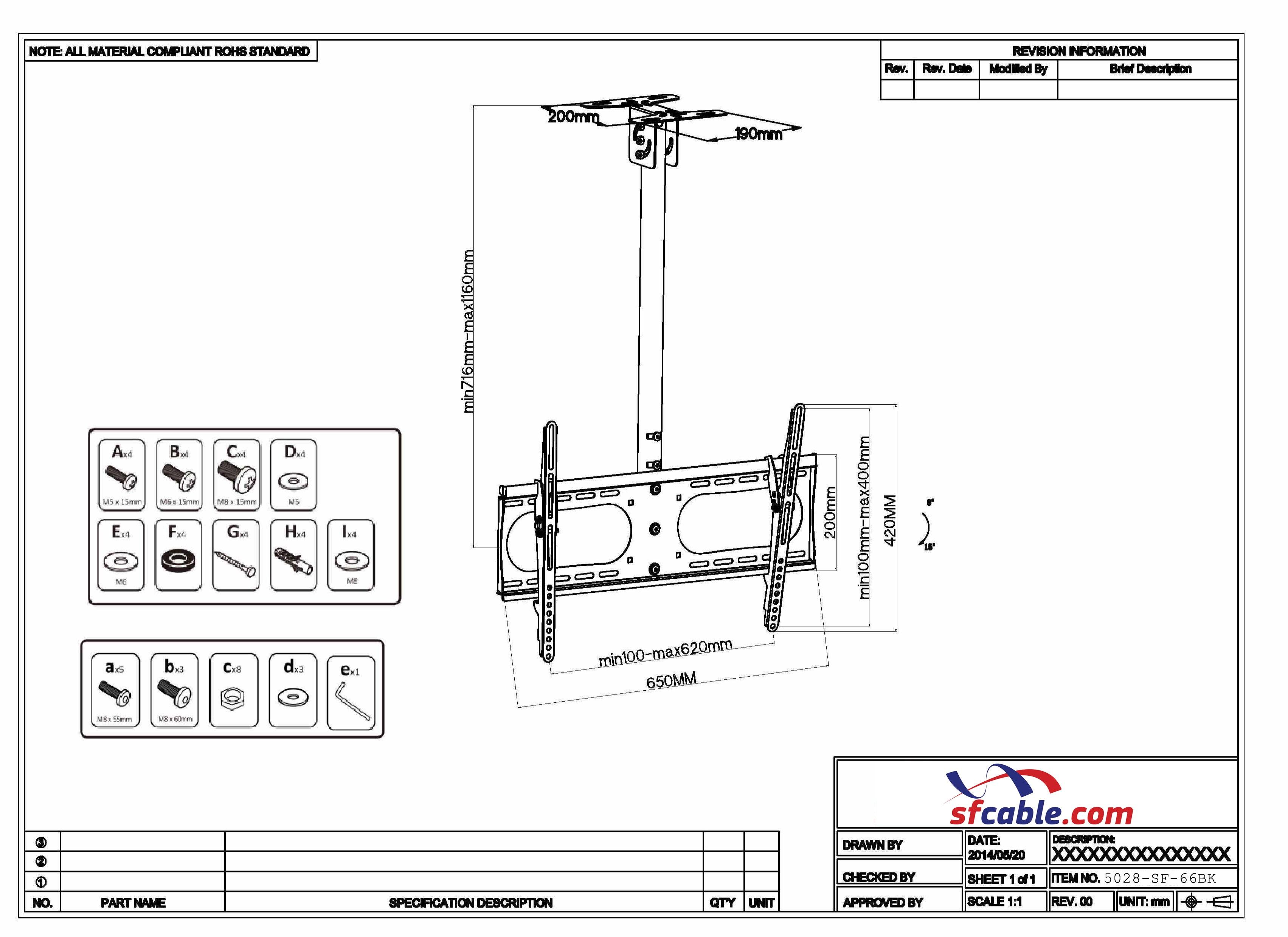 Flat TV Ceiling Mount Adjustable Pole Angle 37