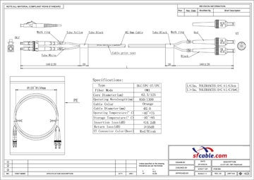 LC-ST Duplex Multimode 62.5/125 Fiber Optic Cable