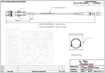 MTRJ-ST Duplex Multimode 62.5/125 Fiber Optic Cable