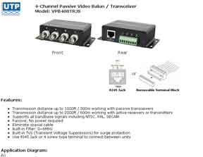 4-Channel Passive Video Balun / Transceiver