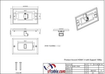 1 Port HDMI Wall Plate 90 Degree