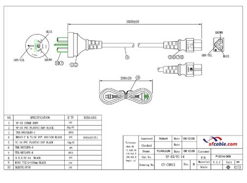 6ft China 3pin Plug to IEC C5 Power Cord