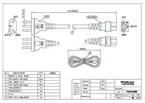 6ft Brazil 3P plug to IEC C5 Power Cord