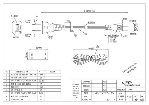 6ft nema 1-15p to iec 60320 c7 polarized power cord | sfcable polarized plug wiring diagram toyota 2c glow plug wiring diagram