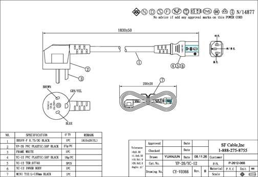 6ft Denmark 3-pin Plug to C13 Power Cord