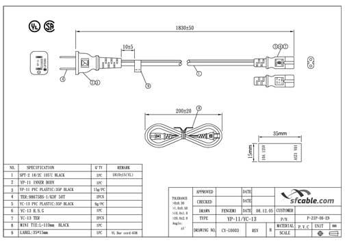 15ft NEMA 1-15P (USA 2-pin) to C7 with 18/2 SPT-2