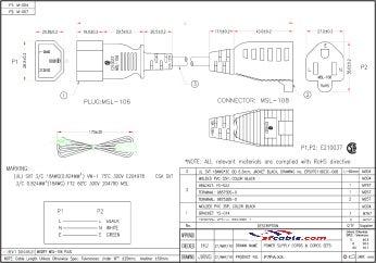 Monitor Power Adapter Cord (NEMA 5-15R to IEC320 C14)