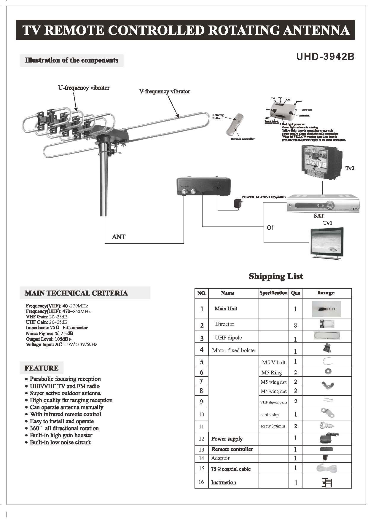 Amplified HD Digital Outdoor HDTV Antenna with Motorized 360 UHD3942B