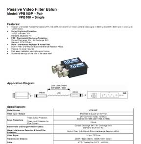 Passive Video Filter Balun, Push-in Terminal Type (2pcs pack)