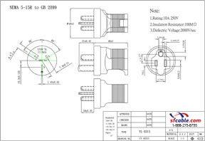 USA NEMA 5-15R to China Power Plug Adapter