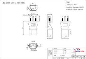 C13 to Brazil NBR14136 Power Plug Adapter