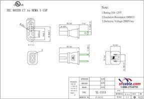 USA NEMA 1-15P to C7 Power Plug Adapter