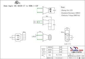 USA NEMA 1-15P to C7 Right Angle Power Plug Adapter