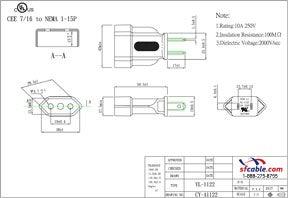 European CEE7/16 to USA NEMA 1-15P Power Plug Adapter
