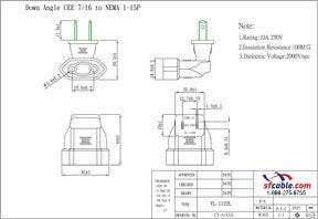 European CEE7/16 to USA NEMA 1-15P Angle Power Plug Adapter