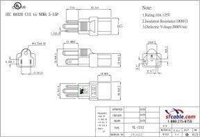 C13 to USA NEMA 5-15P Power Plug Adapter