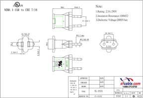 NEMA 1-15R to European CEE7/16 Power Plug Adapter