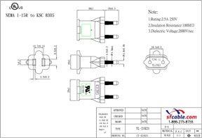 USA NEMA 1-15R to Korea KSC 8305 Power Plug Adapter