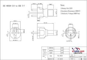 C13 to European CEE7/7 Power Plug Adapter