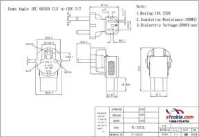 C13 to Europe Schuko CEE7 Angled Power Plug Adapter