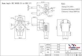 C5 to Europe CEE7/7 Power Plug Angled Adapter