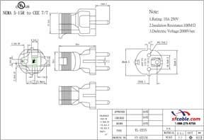 USA NEMA 5-15R to Europe Schuko CEE7/7 Power Plug Adapter