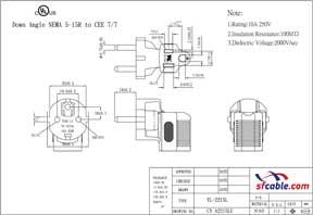 NEMA 5-15R to European CEE7/7 Angled Power Plug Adapter