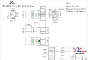 C13 to C6 Power Plug Adapter