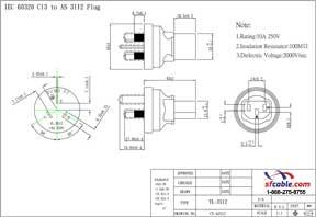 C13 to Australia AS3112 Power Plug Adapter