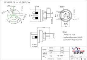 C5 to Australia AS3112 Power Plug Adapter