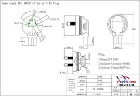 Angled C7 to Australia AS3112 Power Plug Adapter