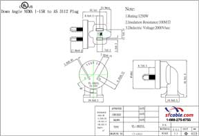 NEMA 1-15R to Australia AS3112 Angled Power Plug Adapter