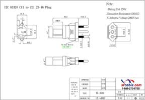 C13 to Italy CEI 23-16 Power Plug Adapter