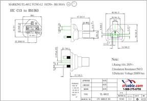 C13 to UK BS1363 Power Plug Adapter