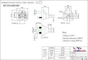 C5 to UK BS1363 Power Plug Adapter
