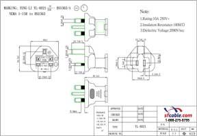 USA NEMA 1-15R to UK Fused BS1363 Power Plug Adapter