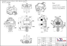 Angled IEC C7 to British BS1363 UK Power Plug Adapter