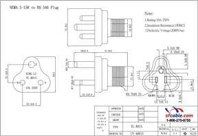 USA NEMA 5-15R to India/South Africa Power Plug Adapter