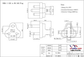 USA NEMA 1-15R to India/South Africa BS546 Plug Adapter